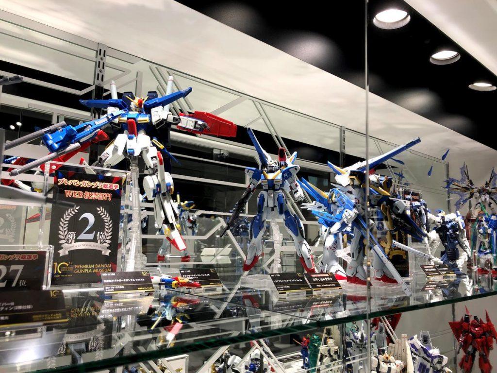 Gundam PlaMos displayed in a showcase