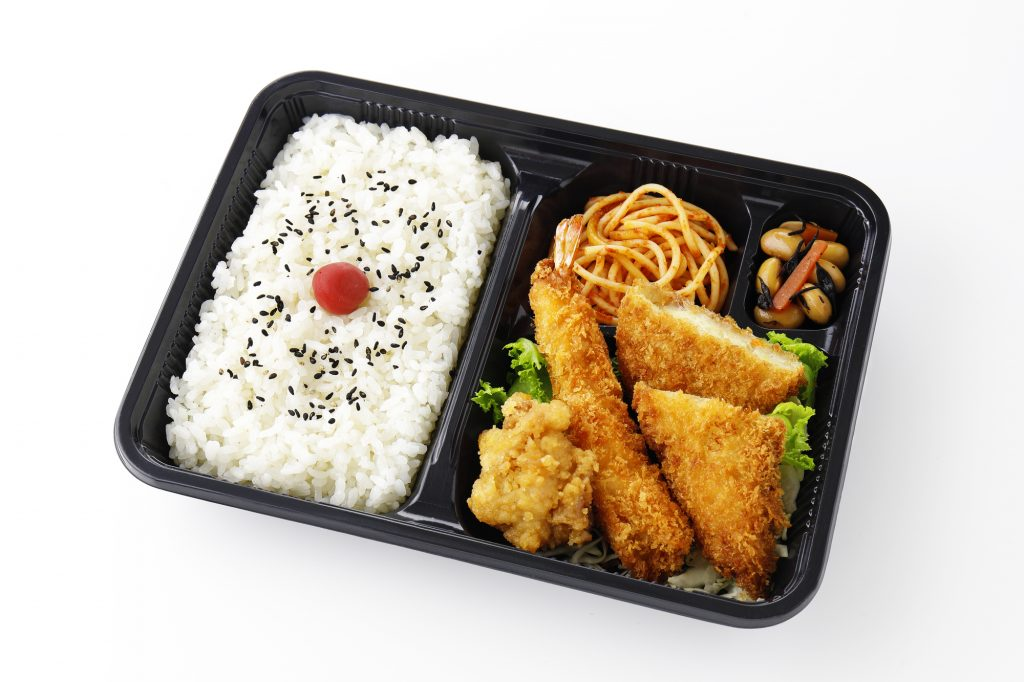 Typical bento box lunch or dinner