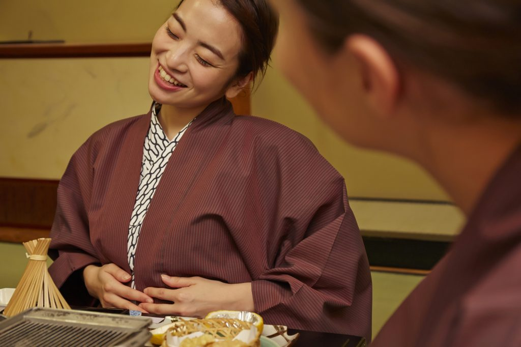 Feeling full after a multi-course kaiseki ryori dinner or lunch