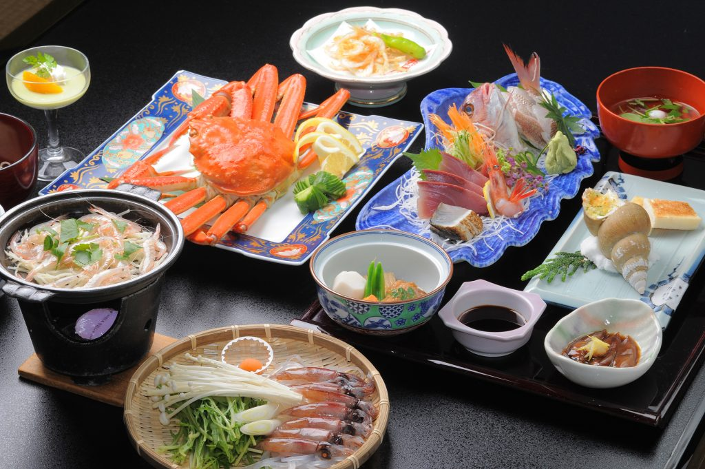 Typical multi-course dinner of kaiseki ryori