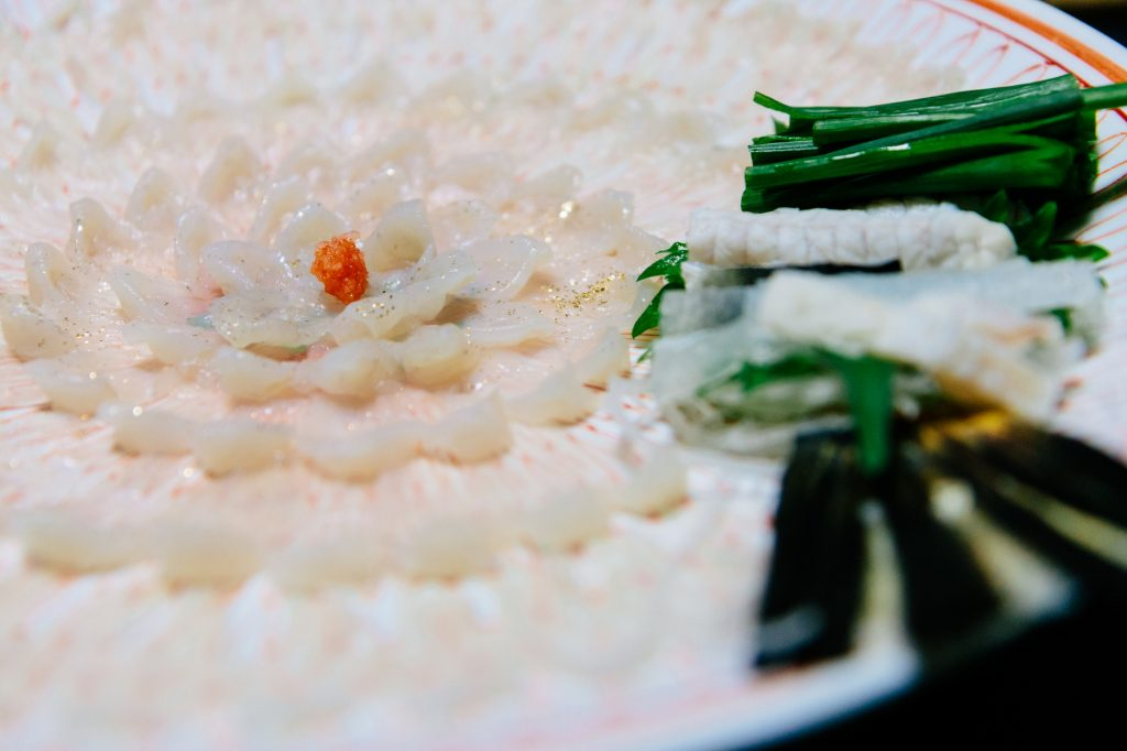 Fugu sashimi is layered in a concentric pattern