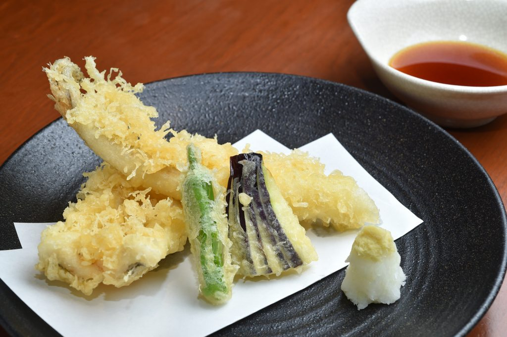 Fried tempura fish and vegetables