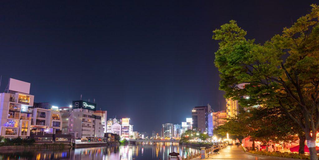 Night view of Fukuoka city, Japan