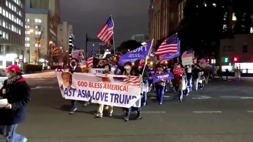 Pro-Trump supporters gather in Tokyo