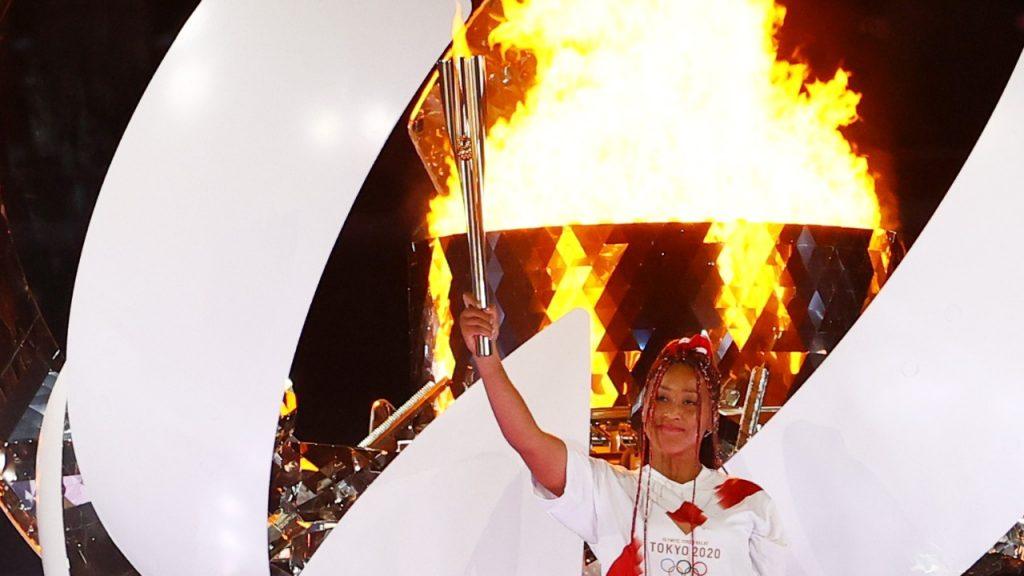 Olympic Retrospective:  Naomi Osaka lighting the Olympic Torch