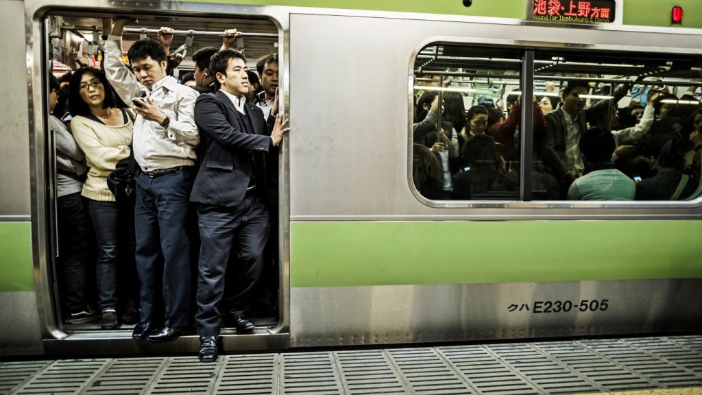 Rush hour on the Yamanote Line train that loops around central Tokyo