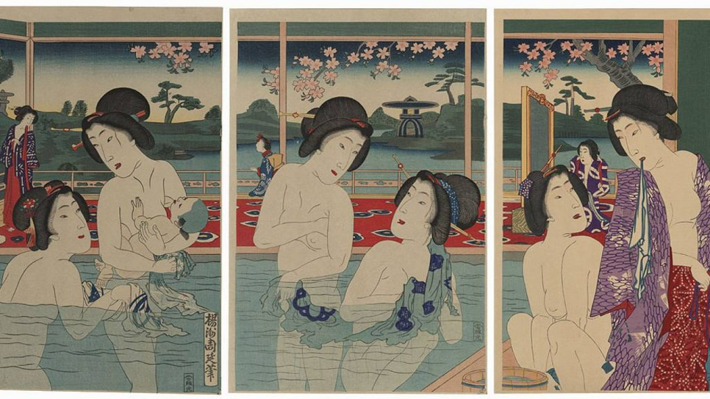 Depiction of a woman with her child at a public bath (left triptych) in an Edo Period (1603 ~ 1867) ukiyoe woodblock print, Image Sourced from Japaaan